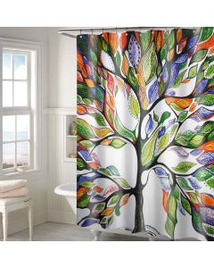 Tree Print Shower Curtain With 12 Eyelets And 12 Hooks - Lushomes