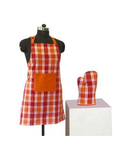 Yarn Dyed Apron And Oven Mitten Combo (Red And Orange) - Lushomes