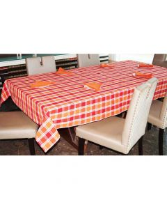 Orange and Red Checks 6 Seater Table Cloth & Napkins (6 pieces) Set - Lushomes