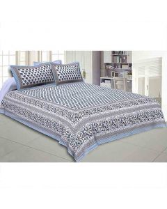 Floral Print Double Bedsheet With Two Pillow Cover - Jaipur Fabric