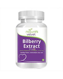Bilberry Extract 80 mg for Eye Health (60 Softgels - Pack of 1) - Natures Velvet