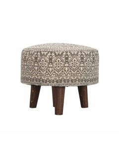Four Legged Ottoman Cushioned Pouffe (Off White) - Nestroots