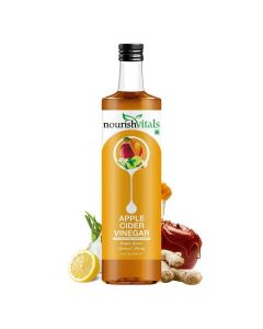 Apple Cider Vinegar with Ginger, Garlic, Lemon and Honey - Raw, Unfiltered with Mother (500 ml) - Nourish Vitals