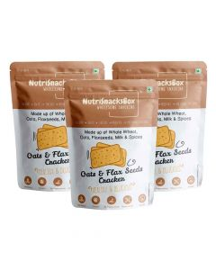 Oats And Flax Seeds Crackers (Pack of 3) - NutriSnacksBox