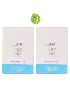 Atulya Lemongrass and Sage Essential Oil Soap (Pack of 2 - 100 gm each) - Omved