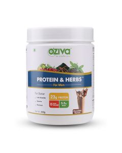 Protein and Herbs Ayurvedic Protein Powder for Men (Chocolate) - OZiva