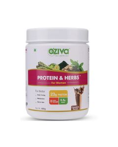 Protein and Herbs Ayurvedic Protein Powder for Women (Vanilla Almond) - OZiva