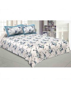 Cotton Double Bed Sheet With 2 Pillow Covers (Blue Motif Floral Print) - Jaipur Fabric
