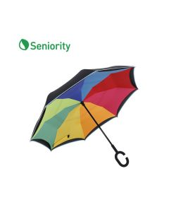 Rainbow Printed Inverted Umbrella with C-Shaped Handle - Seniority