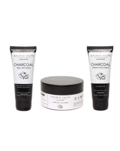 Charcoal Face Wash Face Scrub and Peel Off Mask Combo - Sacred Salts