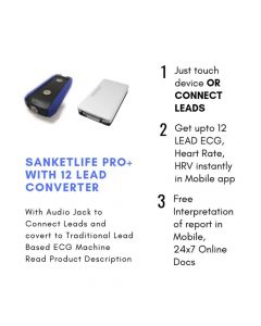 SanketLife Pro Plus Wireless ECG Device With SwitchSy Converter Preloaded With 200 ECG Test - Agatsa