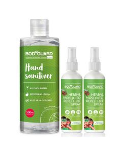 Combo of Alcohol Based Hand Sanitizer (500ml) + Mosquito Repellent Spray (2 Pack -100ml Each) - BodyGuard