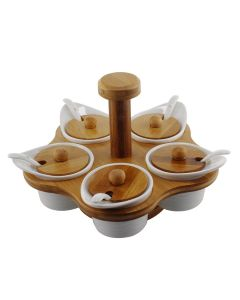 Spice Jar Set With Rotating Stand (Set of 5 Jars) - Home Puff