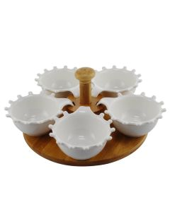 Porcelain Condiment Bowl Set With Wooden Rack (Set of 5 Bowls) - Home Puff