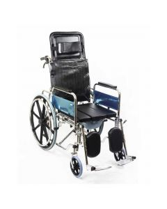 Premium Recliner Wheelchair with Soft Commode U-Cut Seat (RCR303A) - KosmoCare