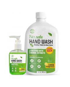 Liquid Hand Wash with Neem and Tulsi Extracts (Pack of 2 - 250ml and 900 ml) - Neusafe