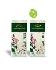 Roasted Almonds Stevia Chocolate (40 gm) Pack of 2 -Zevic