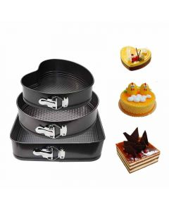 Heart (22 cm), Round (24 cm) and Square (26 cm) Shaped Baking Pans With Removable Base