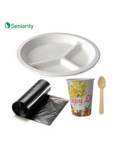Disposable Kit (Garbage Bag, Plate, Spoon and Glass) 25 Each - Seniority