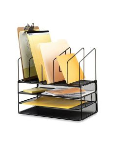 Mesh Desk Organizer with Three Trays and 5 Upright Sections (Black) - Callas
