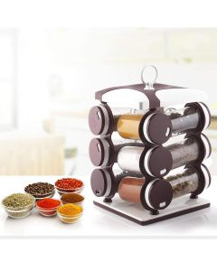 Revolving Plastic Spice Rack - Set of 12 (Assorted Color) - Miracle