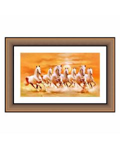 Seven Horse Canvas Painting With Heavy Duty Frame - Shine India Handicrafts