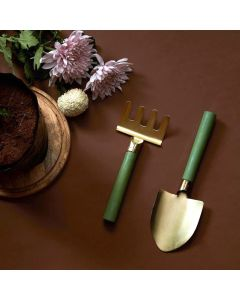Metal and Wood Gardening Tools Set - Color Palatte