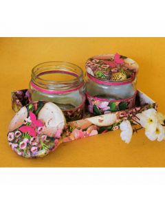 Decoupage Glass Jar with Tray Set - Color Palette