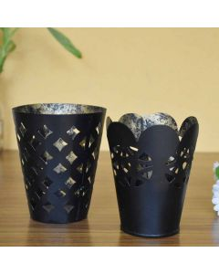Black Cutwork T lite Holder Set of 2 - Color Palette