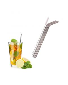 Stainless Steel Straws (Set of 4) With Cleaning Brush - Mosquick