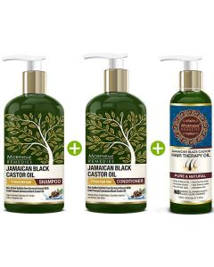 Hair Therapy Oil + Shampoo and Conditioner (200 ml + 300 ml and 300 ml)- Morpheme Remedies