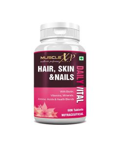 Daily Vital Hair, Skin and Nails Supplement With Biotin (60 Tablets) - MuscleXP