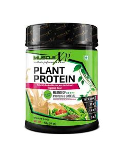 Natural Plant Protein Powder Chocolate Flavour (400 gm) - MuscleXP