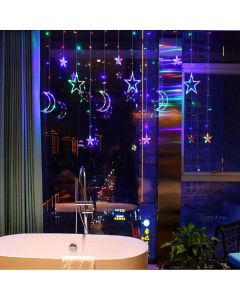 Star and Moon Shaped 138 LED Curtain String Lights with 8 Flashing Modes - House of Quirk