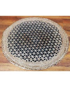 Hand Woven Braided Jute Mat (Printed Triangles Design) - The Home Talk