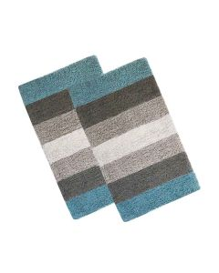 Cotton Regular Ultra Soft Stripes Bathmat 35 x 50 cm (2 Pieces) - The Home Talk