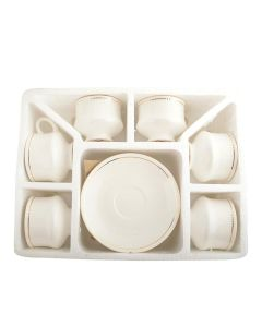Ceramic Tea Cups and Saucers (Set of 12) - Woodenclave