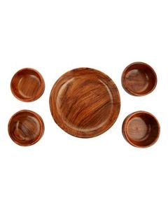 Handcrafted Wooden Serving Bowl (Set of 5) Brown - Woodenclave