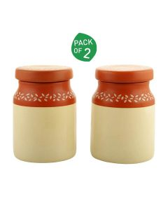 Ceramic Pickle Jars (Set of 2 - 400 ml) (Brown and Off-White) - Woodenclave