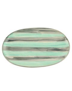 Oval Shaped Ceramic Serving Plate (Green and Gray) - Woodenclave