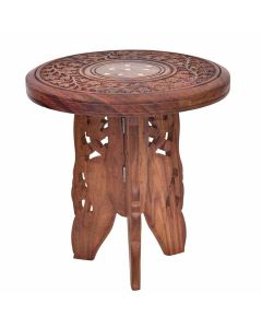 Round Wooden Corner End Table (Brown) - Woodenclave