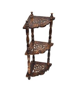 Wooden 3 Tier Corner End Table - Woodenclave