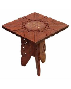 Square Wooden Corner End Table (Brown) - Woodenclave