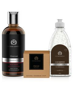 Char-Cool Vibes Combo (Sanitizer-Body Wash-Soap) - The Man Company