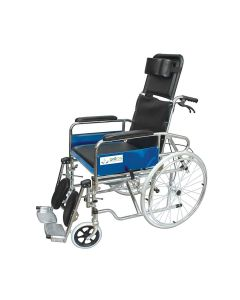 Chromed steel with United Brake Foldable Recliner Wheelchair with Soft Commode Seat (KL608GCJ) - Entros
