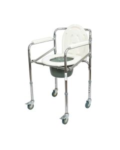 Premium Steel height Adjustable Commode chair with Castors (KL696) - Entros