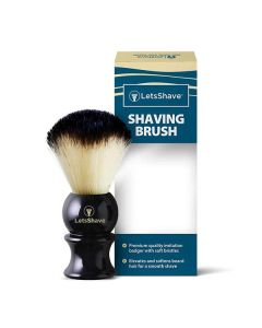 LetsShave Imitation Badger Shaving Brush - Hand Made, Soft Hair - Glossy Black Handle