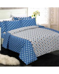 Exceptional Blue Colored Geometric Print Cotton King Size Bedsheet with 2 Pillow Covers - Diva Collection