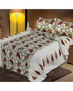 Mesmeric Multi Colored Print Cotton King Size Bedsheet with 2 Pillow Covers - Diva Collection