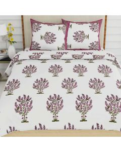 Demanding White Colored Print Cotton King Size Bedsheet with 2 Pillow Covers - Diva Collection